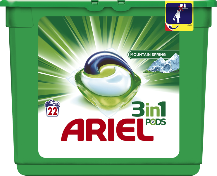 ARIEL Active Gel Mountain Spring All in 1 (22ks) - gelové prací kapsle