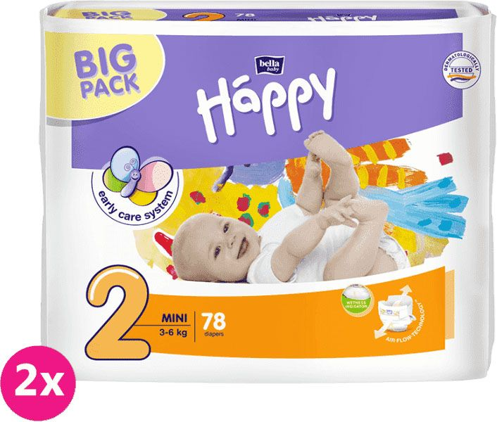 2x BELLA HAPPY Mini 2 (3-6kg) Big Pack 78 ks - jednorazové plienky
