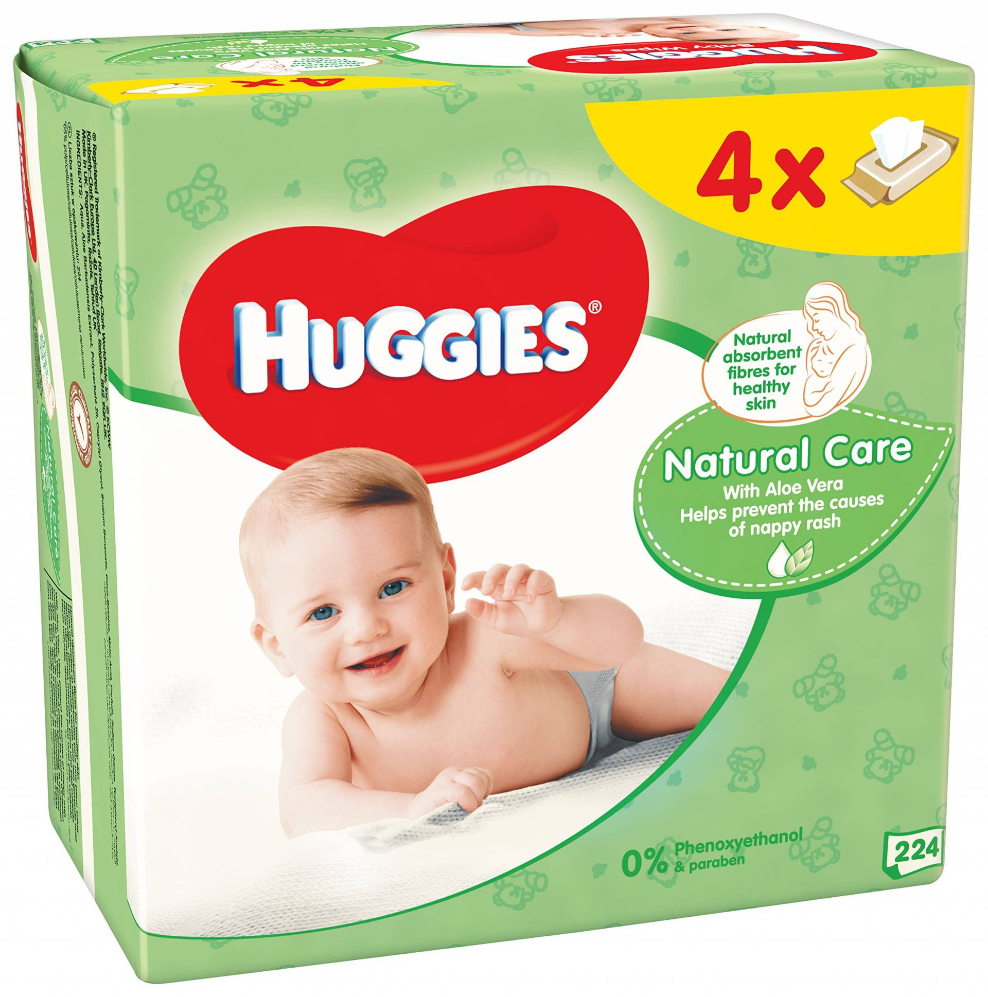 4x HUGGIES Quatro Pack Natural Care (56 ks) - vlhčené utierky
