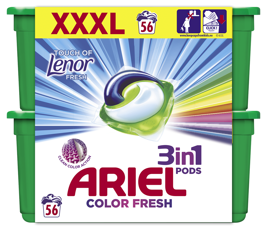 ARIEL Touch of Lenor Fresh All in 1 Gelové Kapsle - 56 ks