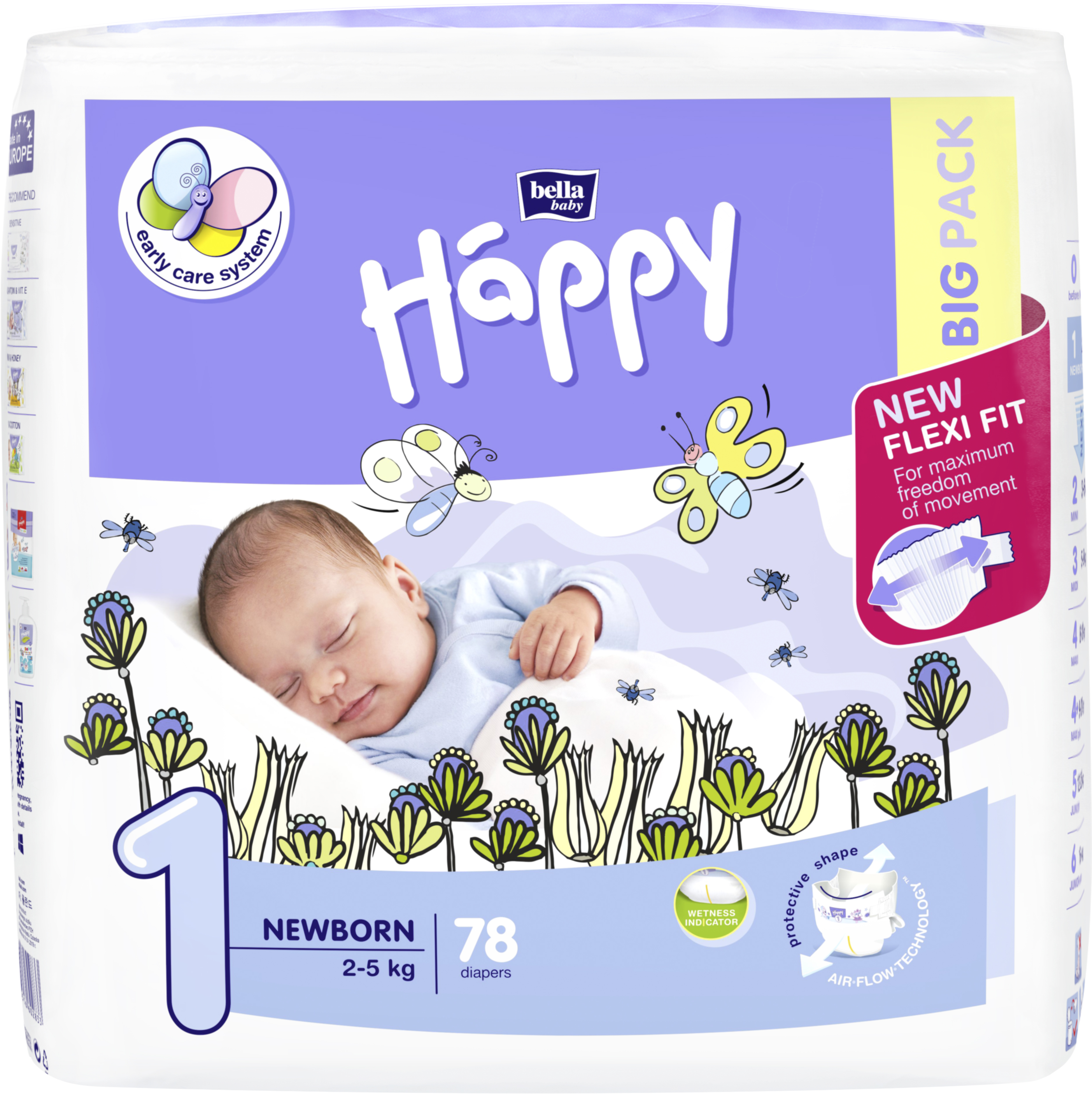 BELLA HAPPY Newborn 1 (2-5 kg) Big Pack 78 ks - jednorazové plienky