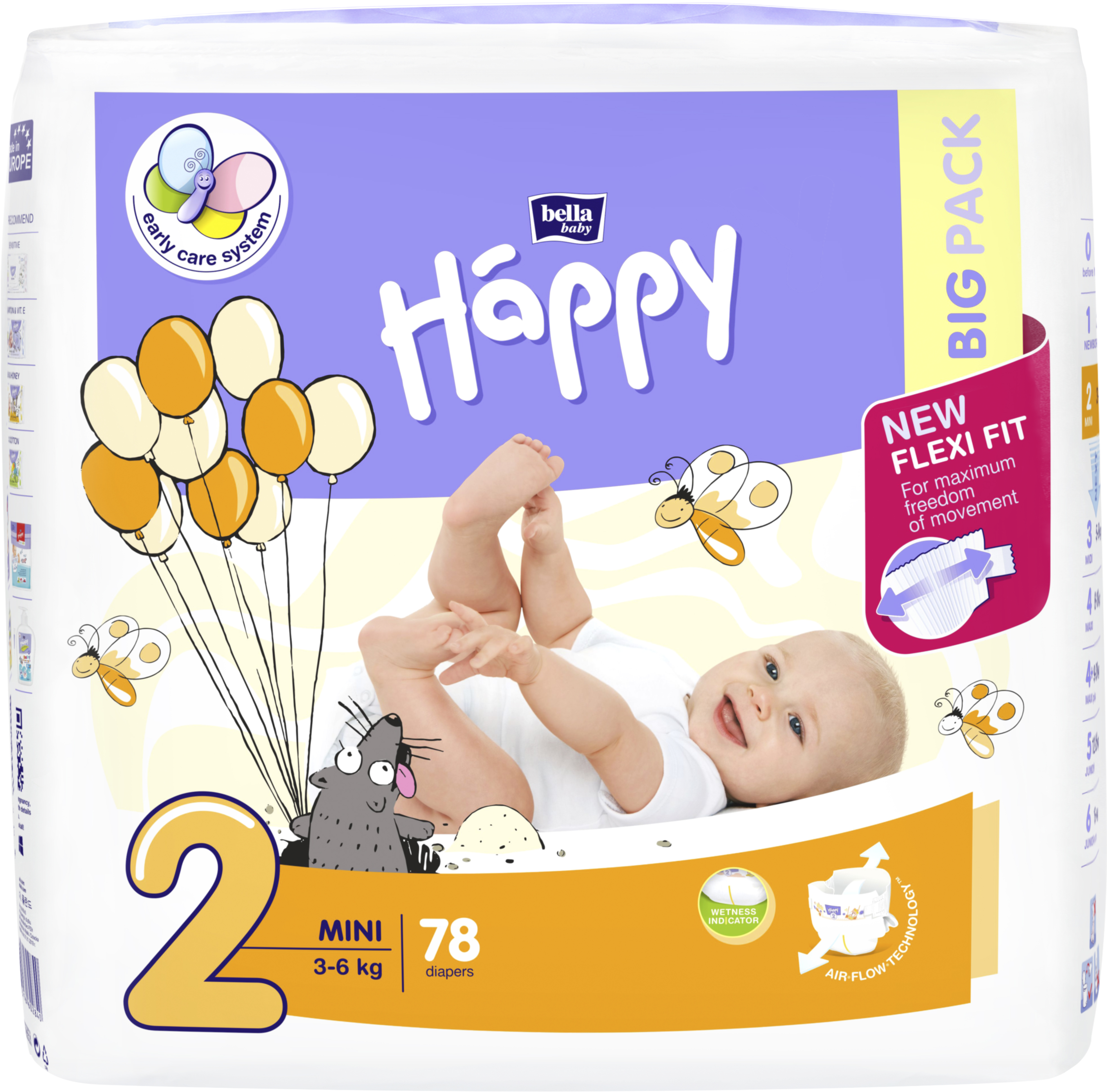 BELLA HAPPY Mini 2 (3-6 kg) Big Pack 78 ks – jednorázové plenky