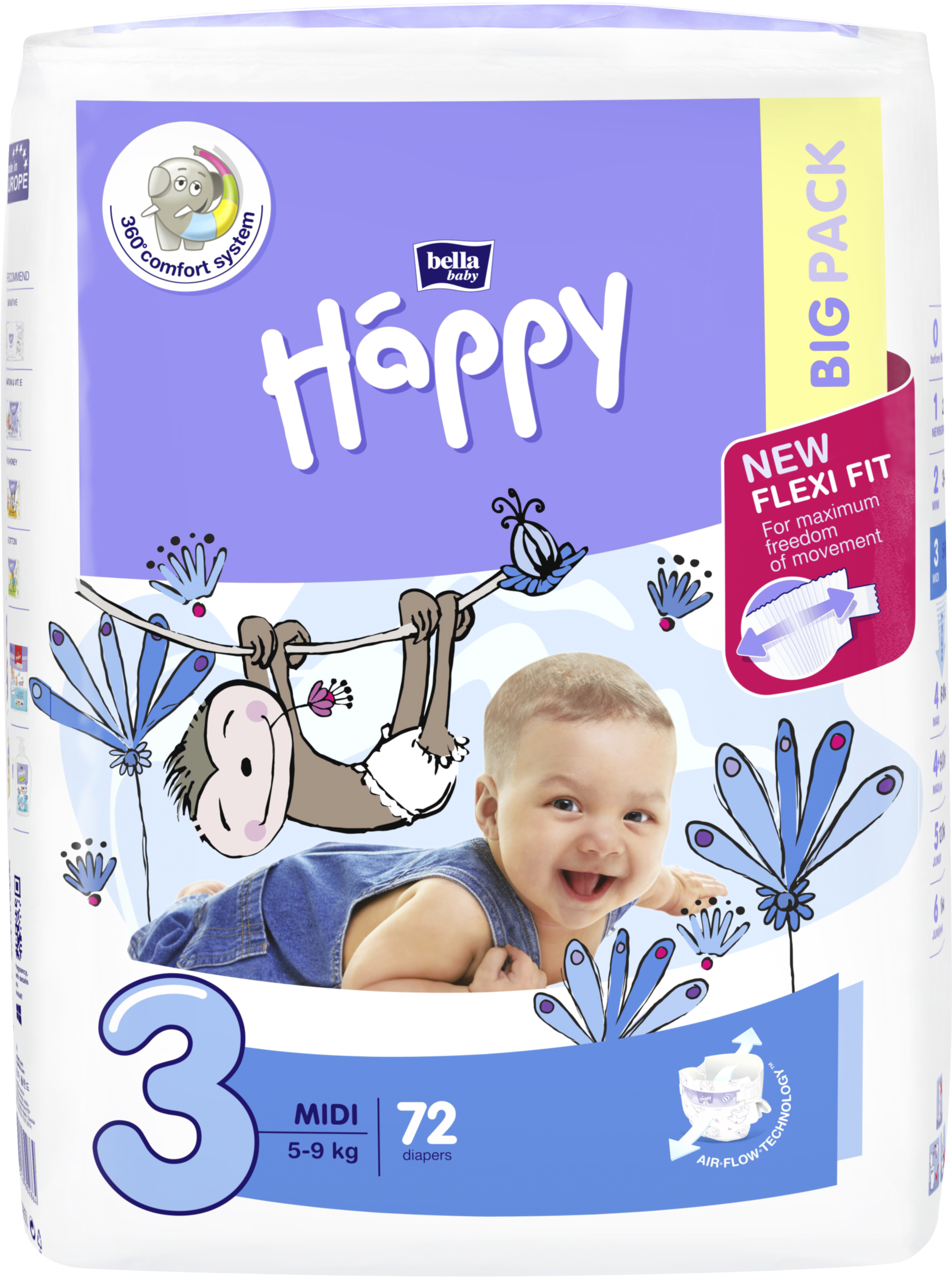 BELLA HAPPY Midi Big Pack 3 (5-9 kg) 72 ks - jednorazové plienky