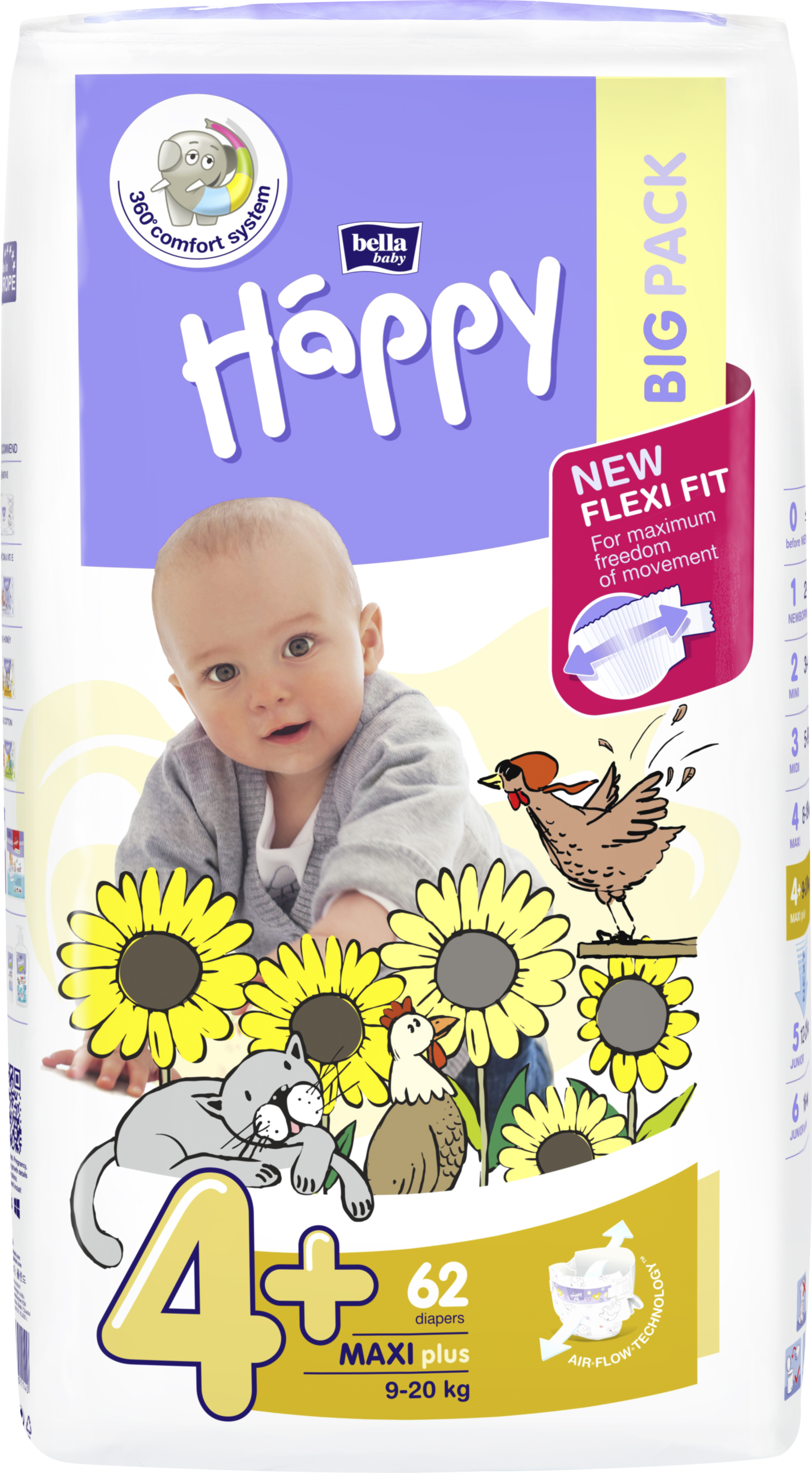 BELLA HAPPY Maxi Plus Big Pack 4 (9-20 kg) 62 ks – jednorázové pleny