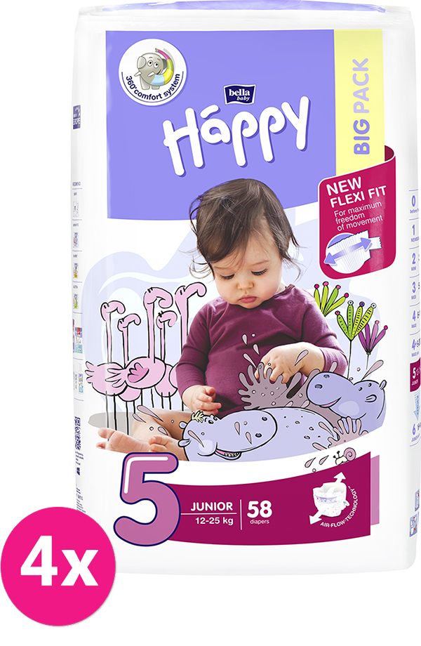 4x BELLA HAPPY Junior 5 (12-25 kg) Big Pack 58 ks - jednorázové plenky