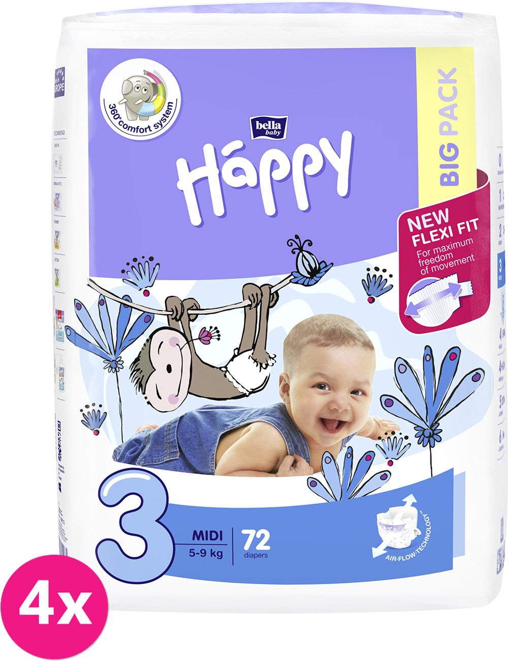 4x BELLA HAPPY Midi Big Pack 3 (5-9 kg) 72 ks - jednorazové plienky
