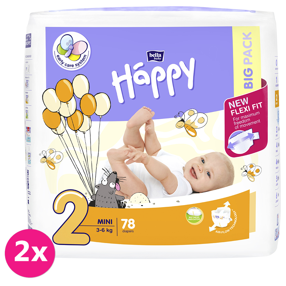 2x BELLA HAPPY Mini 2 (3-6 kg) Big Pack 78 ks - jednorazové plienky