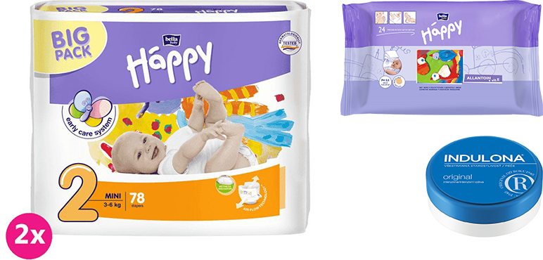 2x BELLA HAPPY Mini 2 plienky (3-6 kg) 78 ks + Indulona Telový krém 75 ml + Happy Wipes 24 ks