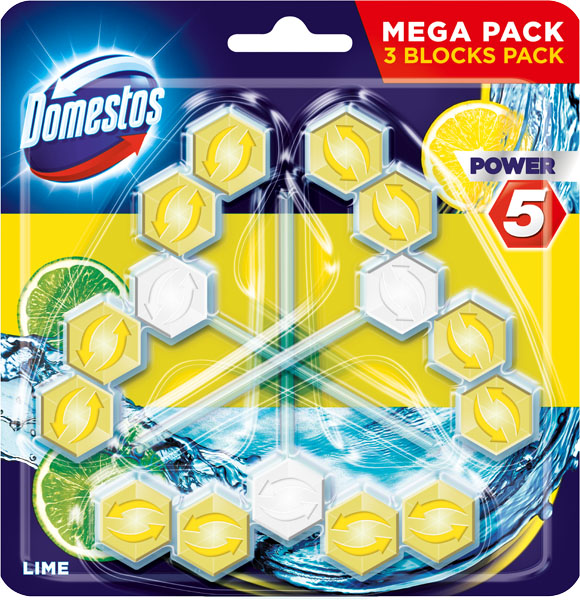 DOMESTOS Power 5 Limetka tuhý WC blok (3 x 55 g)