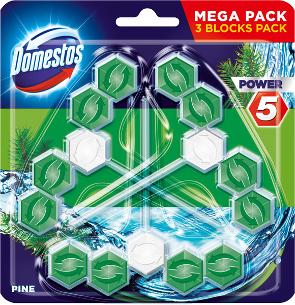 DOMESTOS Power 5 Borovice tuhý WC blok (3 x 55 g)