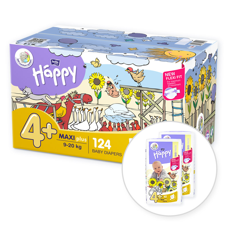 BELLA HAPPY Maxi 4 Plus Big TOY BOX (9-20 kg) 124 ks – jednorazové plienky