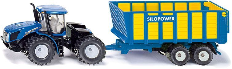 SIKU Farmer 1947 - Traktor New Holland so silážnym prívesom Joskin, 1:50