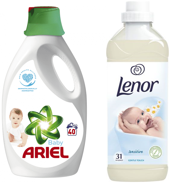 ARIEL Baby gel 22 l (40 dávek)  LENOR Gentle Touch 930 ml (31 dávek)