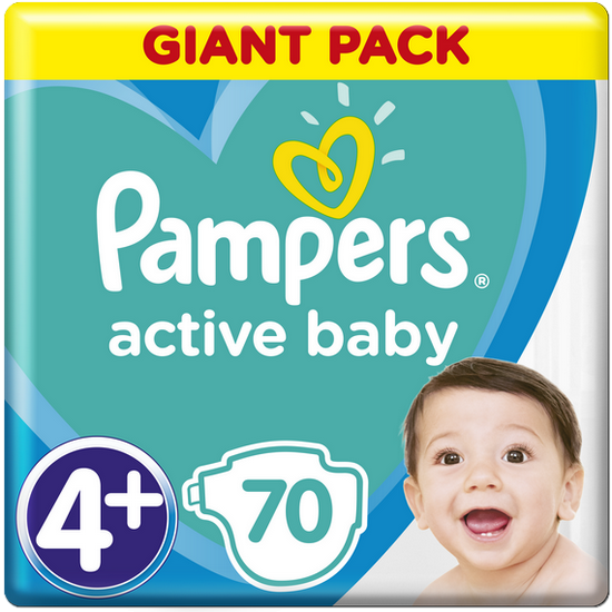 PAMPERS Active Baby 4+ (10-15 kg) 70 ks GIANT PACK – jednorazové plienky