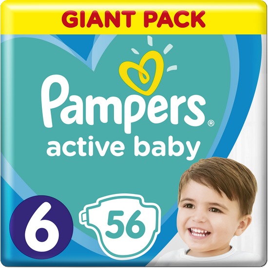 PAMPERS Active Baby 6 (13-18 kg) 56 ks GIANT PACK – jednorazové plienky