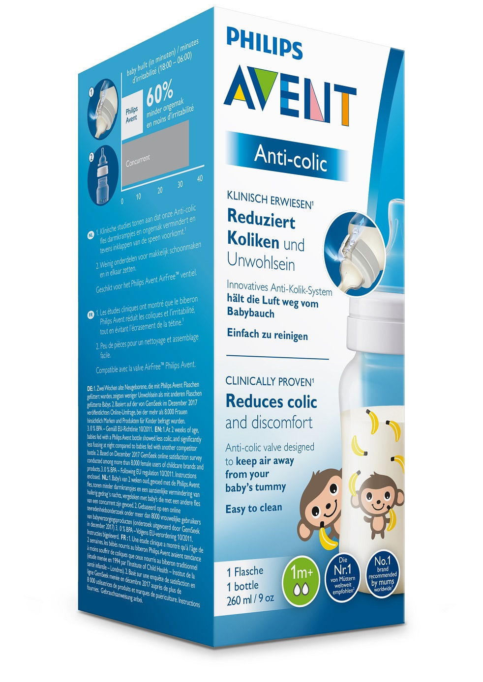 AVENT Láhev Anti-colic 260 ml (1 ks) opice