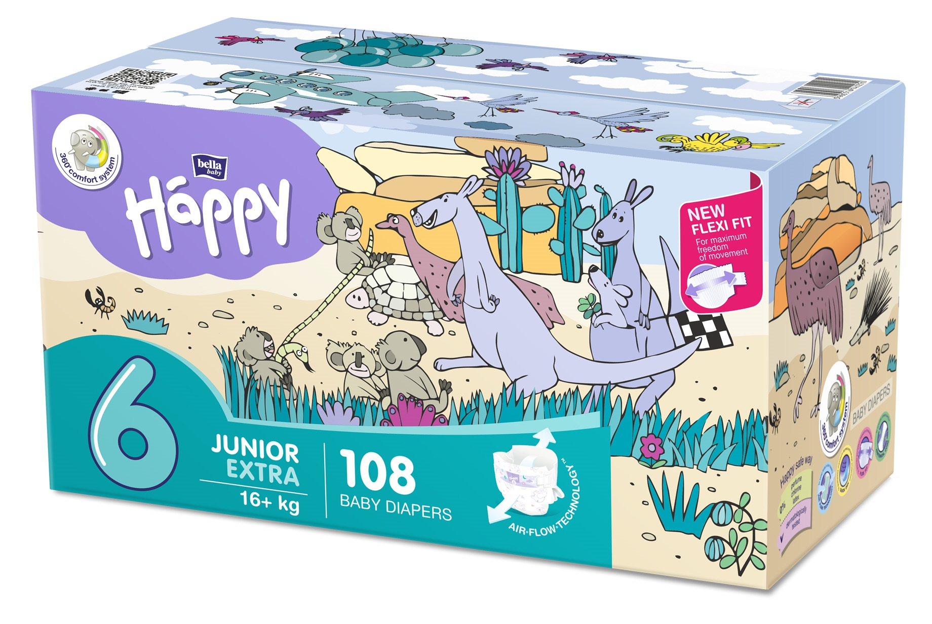 BELLA HAPPY Junior 6 Big TOY BOX (16 kg) 108 ks – jednorazové plienky