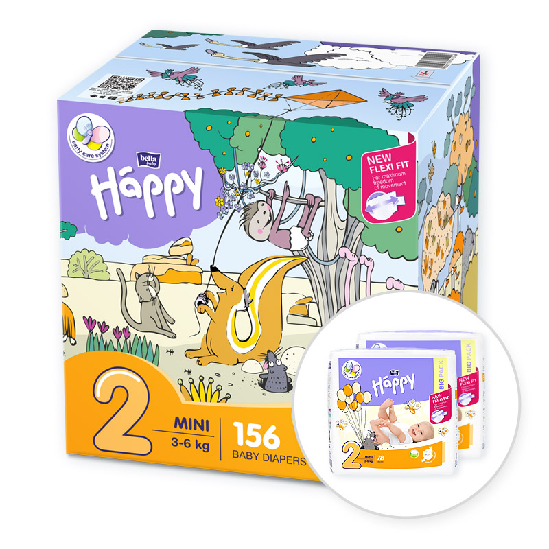 BELLA HAPPY Mini 2 Big TOY BOX (3-6 kg) 156 ks - jednorazové plienky