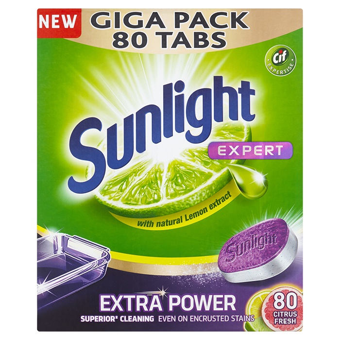 SUNLIGHT All in One Expert Extra Lemon 80 ks – tablety do myčky