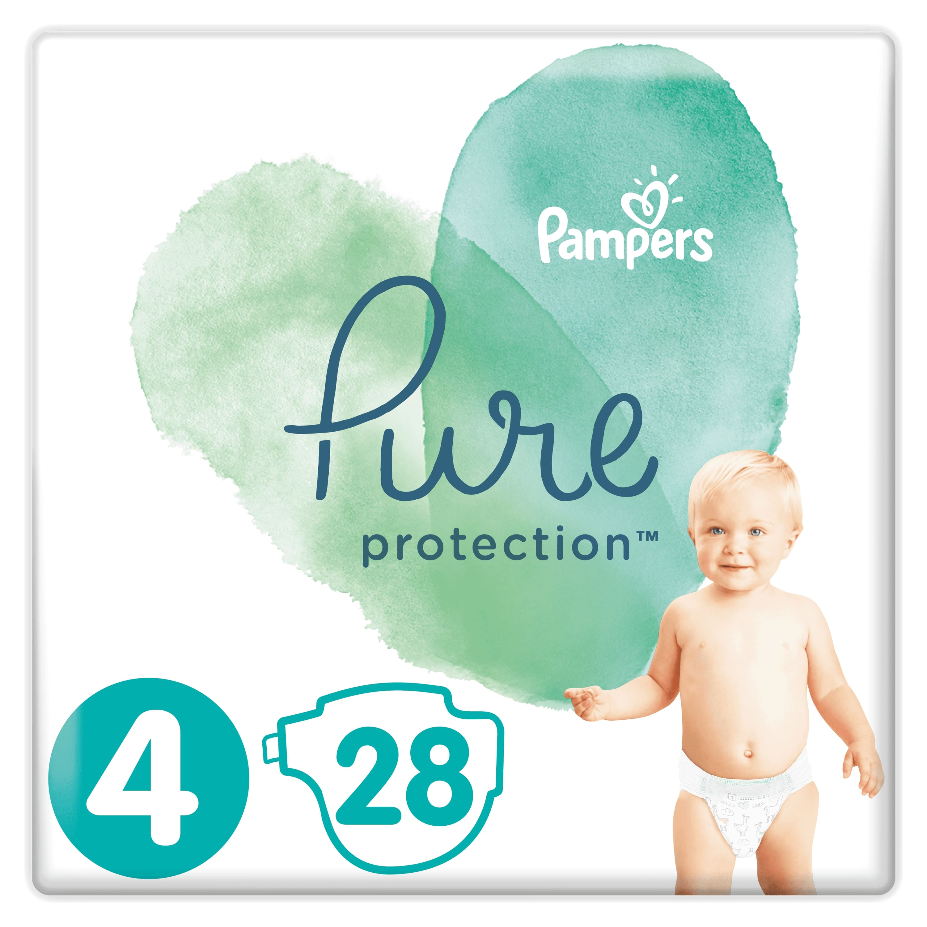 PAMPERS Pure Protection S4, 28 ks (9-14 kg) – jednorazové plienky