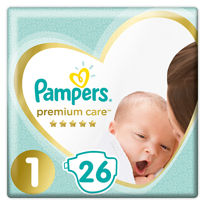 PAMPERS Premium Care 1 NEWBORN (2-5 kg) 26 ks Carry Pack – jednorázové pleny