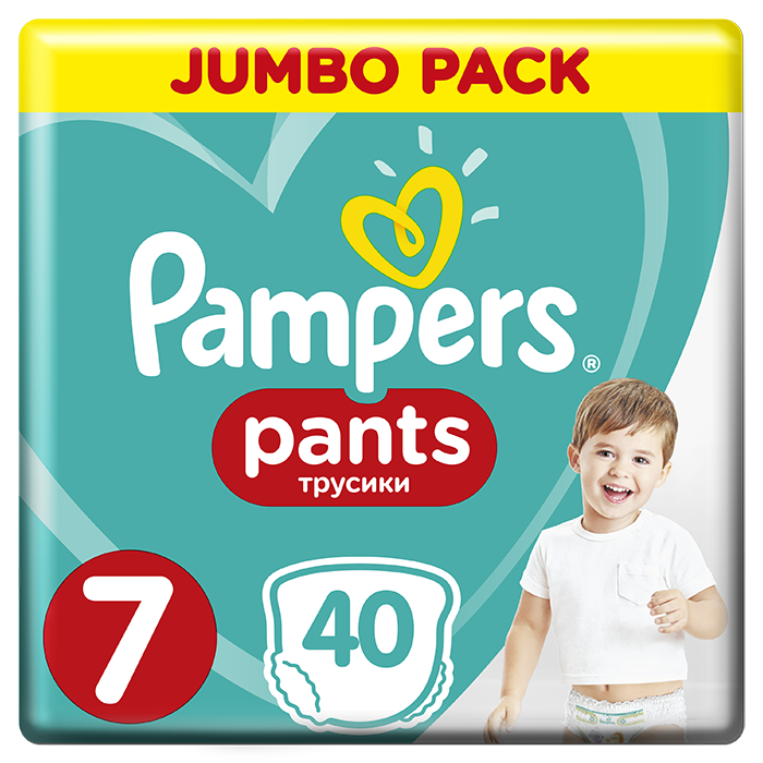 PAMPERS Active Pants 7 (17 kg) 40 ks Jumbo Pack – plenkové kalhotky