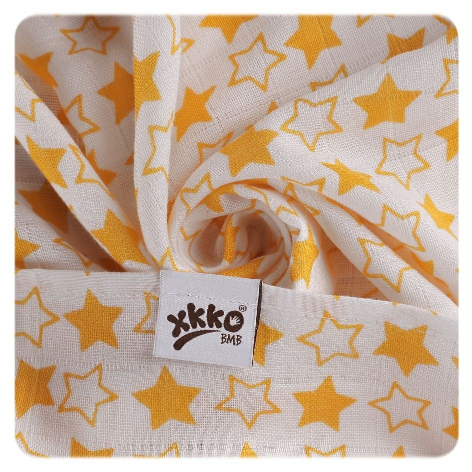 KIKKO Bambusové pleny BMB 70x70 - Little Stars Orange MIX 3 ks