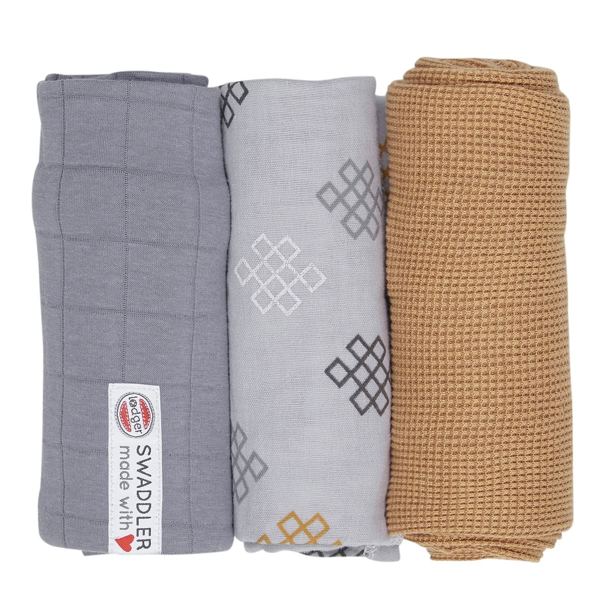 LODGER Plenky Swaddler Empire Knot 3 ks Donkey 70 x 70 cm