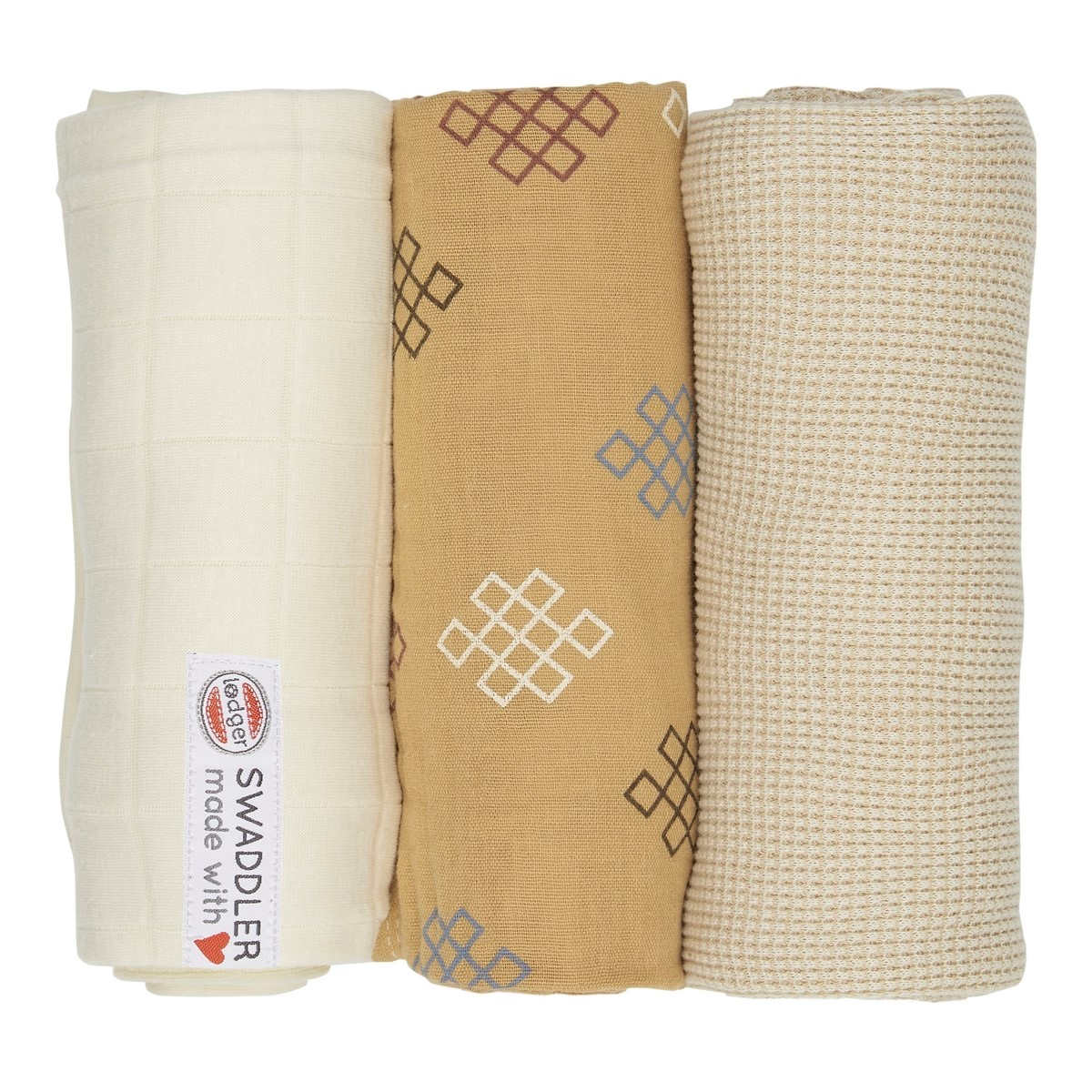 LODGER Plenky Swaddler Empire Knot 3 ks Ivory 70 x 70 cm