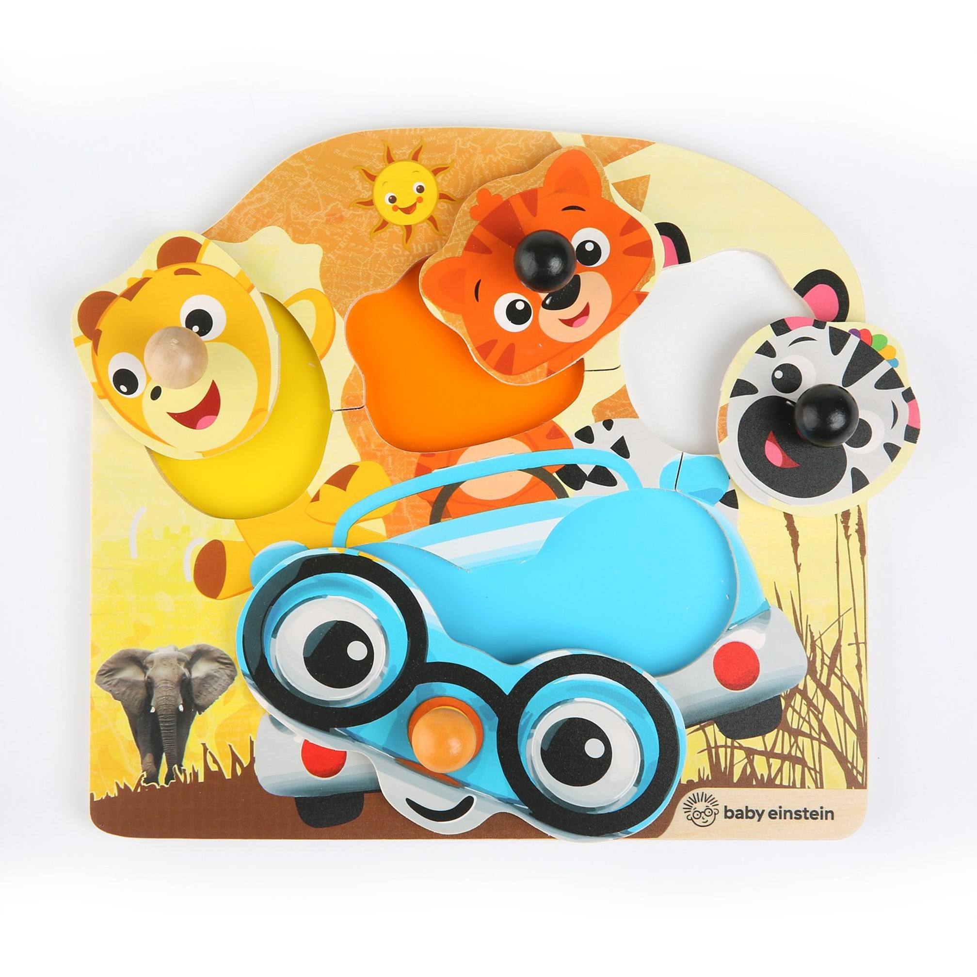 BABY EINSTEIN Hračka drevená puzzle Friendy Safari Faces HAPE 12m