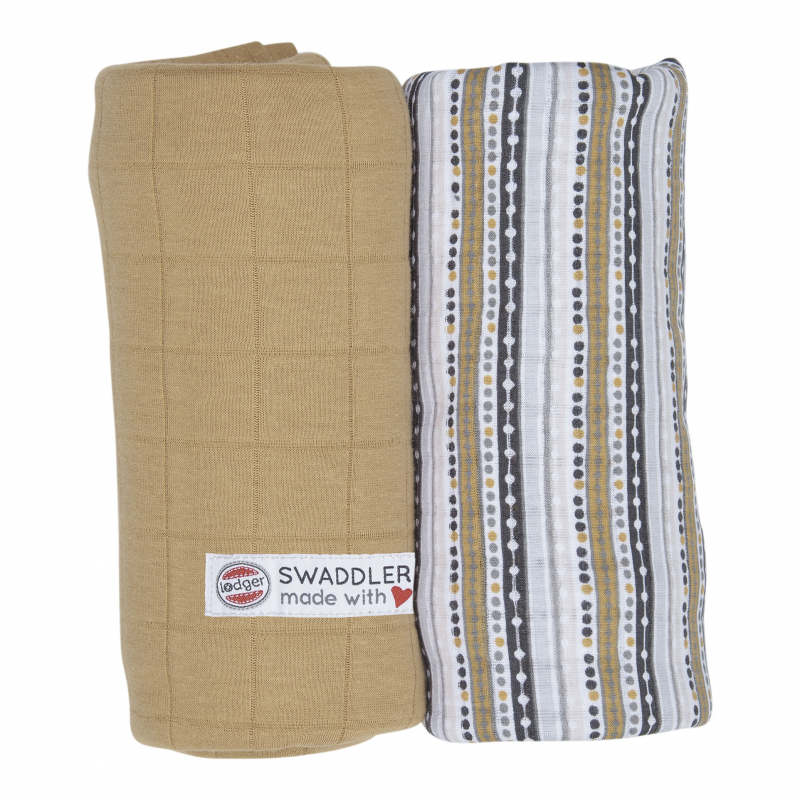 LODGER Pleny Swaddler PrintSolid 2 ks HoneyStripe