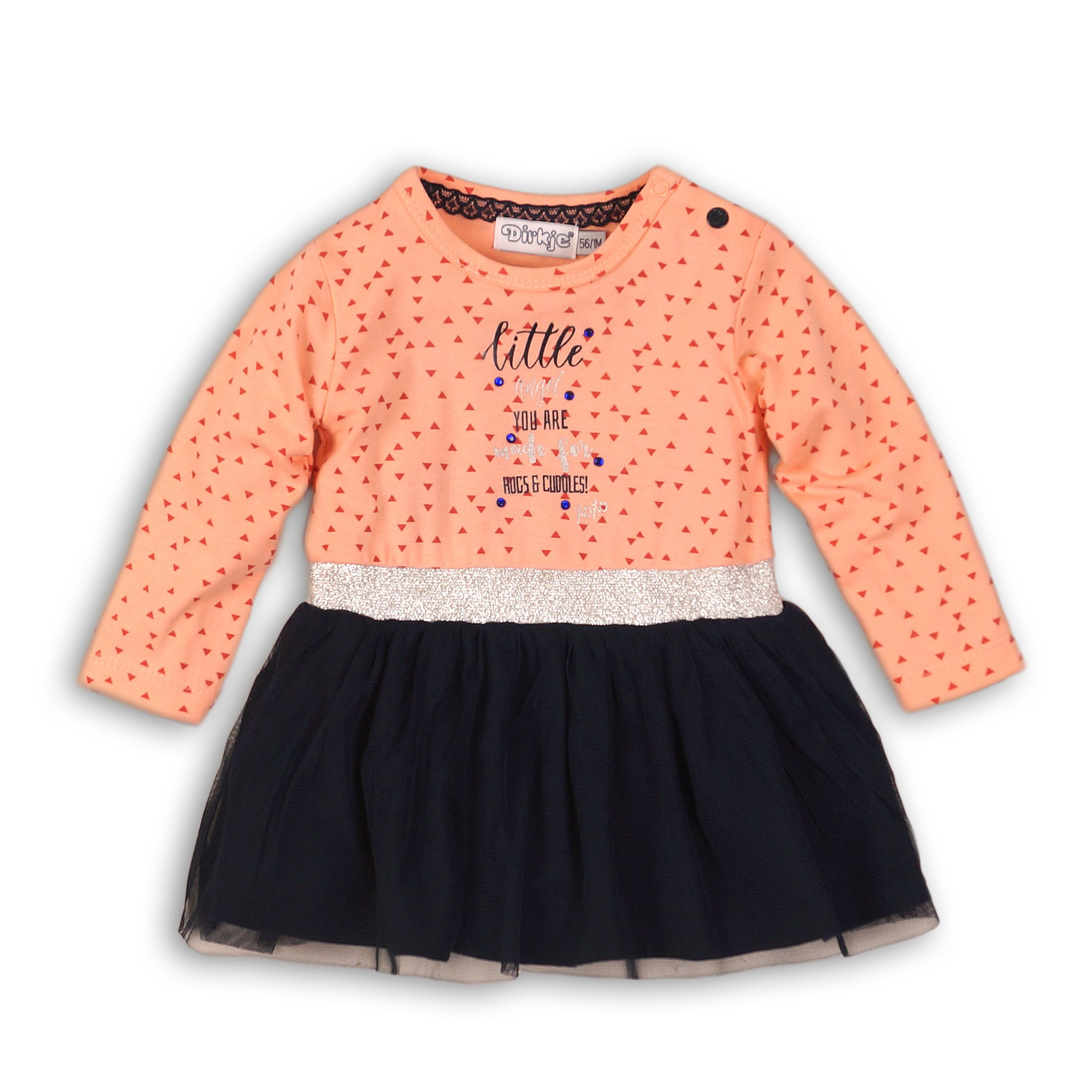DIRKJE Šaty B-SO FRESH HUGS AND CUDDLES 92 Peach - Navy