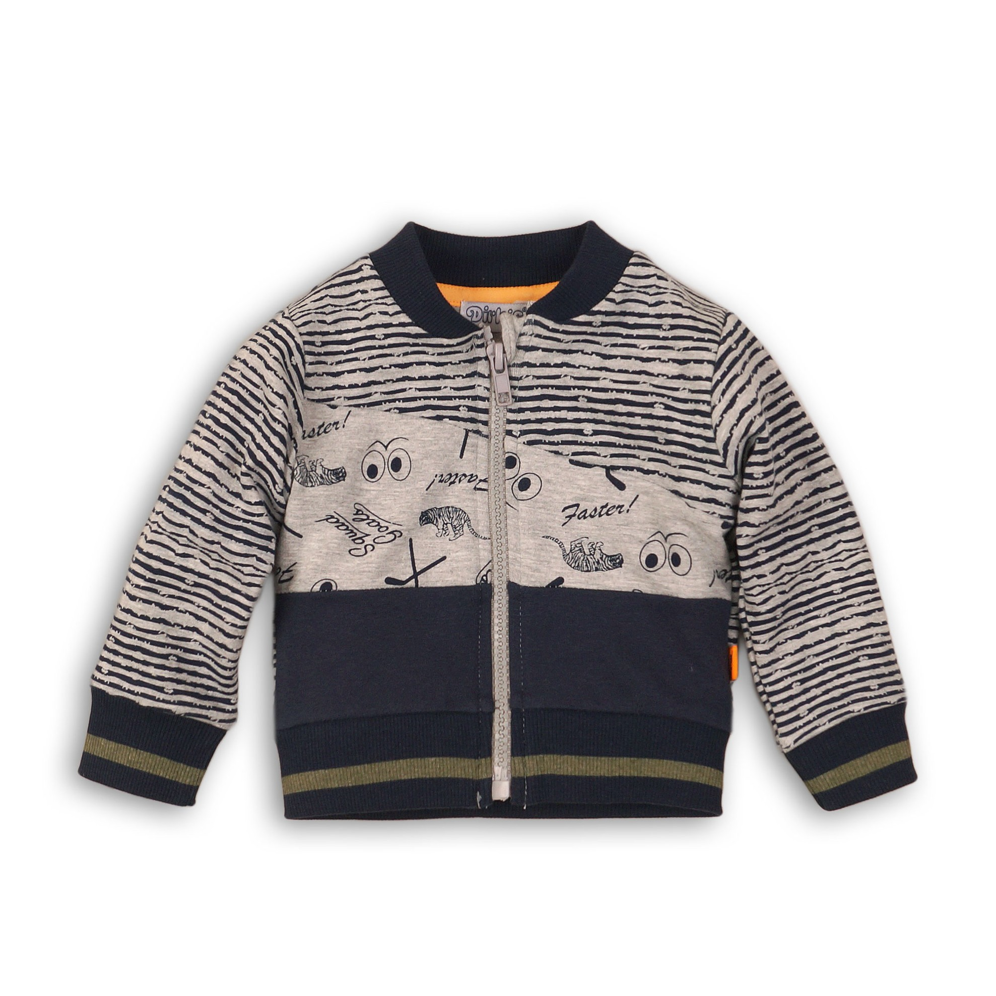 DIRKJE Mikina na zip B-SO BRIGHT GO GET THEM TIGER 92 Navy - Grey