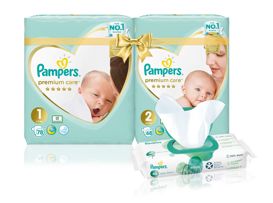 PAMPERS Premium Care Starter Pack S1  S2  Aqua Pure ubrousky 48 ks