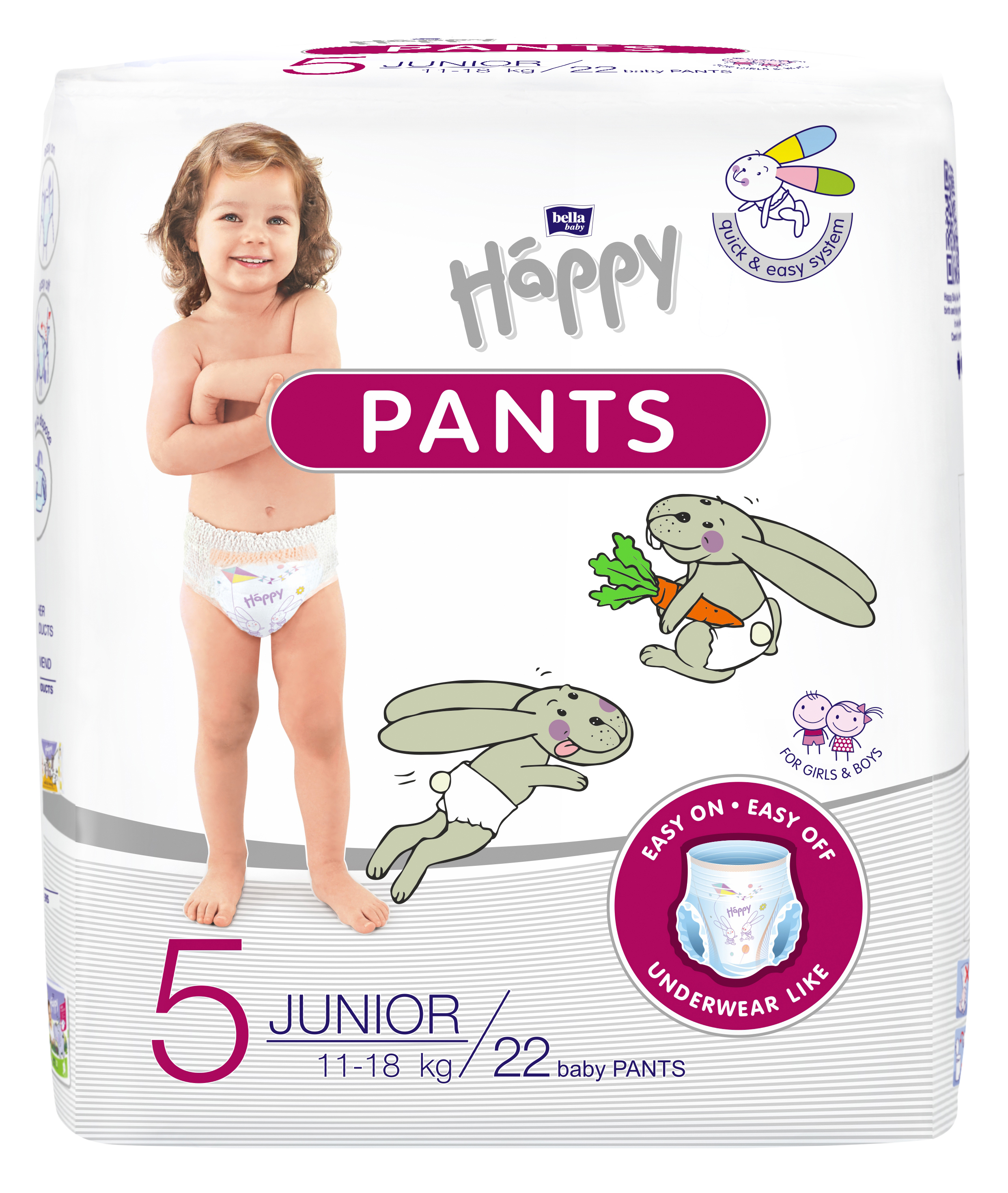BELLA HAPPY Pants Junior (11-18kg) 22 ks – jenorázové pleny
