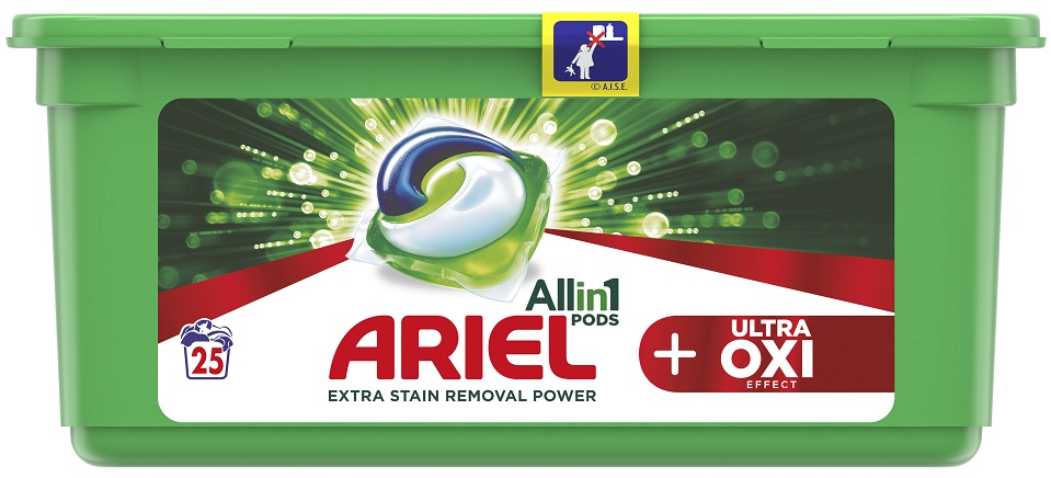 ARIEL Ultra OXI All in 1 (25 ks) – gelové prací kapsle