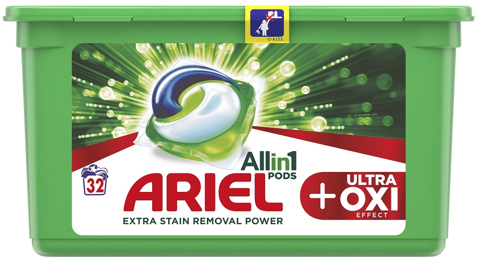 ARIEL Ultra OXI All in 1 (32 ks) – gelové prací kapsle