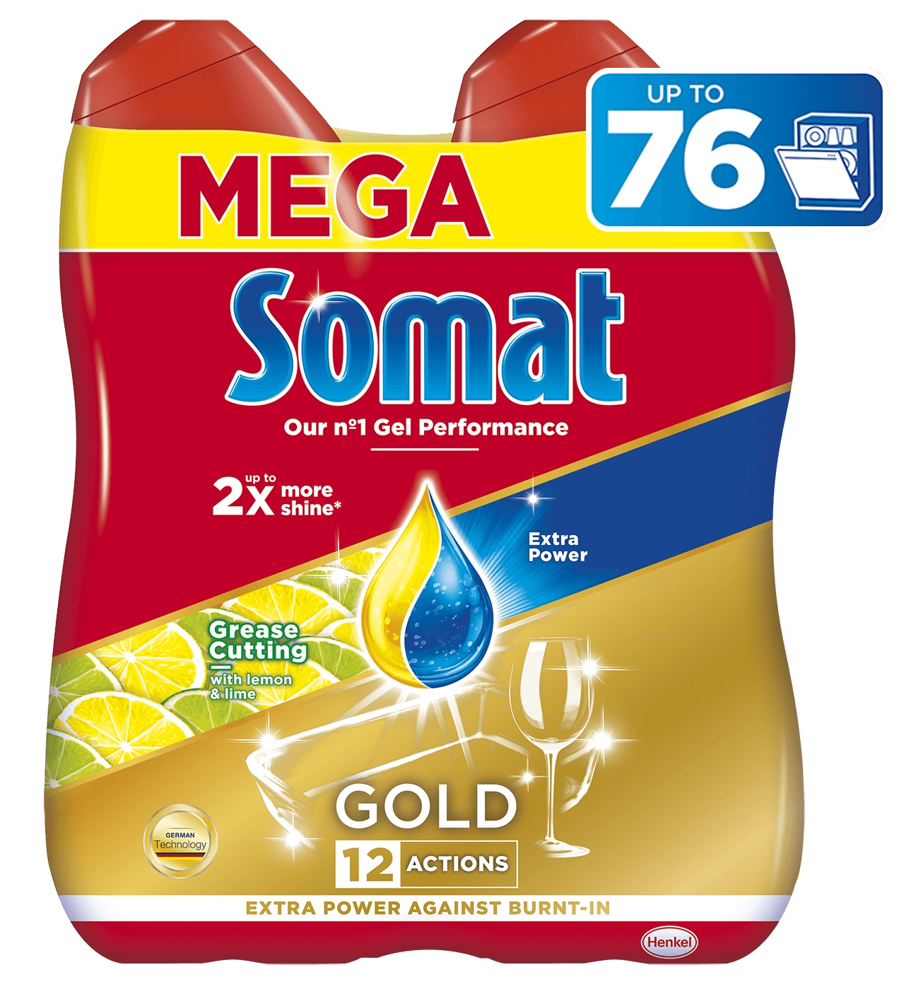 SOMAT Gold Gel Anti-Grease Lemon (2x684 ml) – gel do myčky