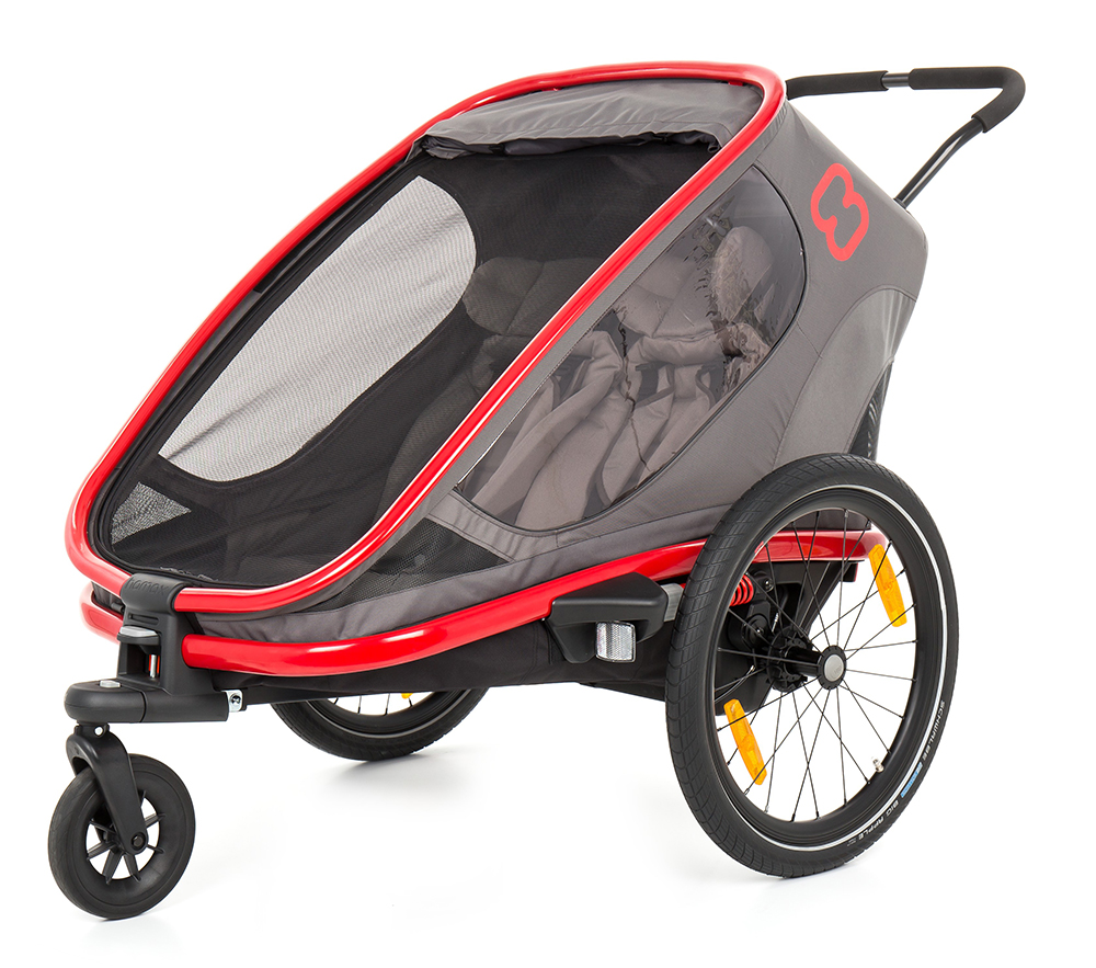 HAMAX Outback 2v1 - double vozík za bicykel grey/red/antracit