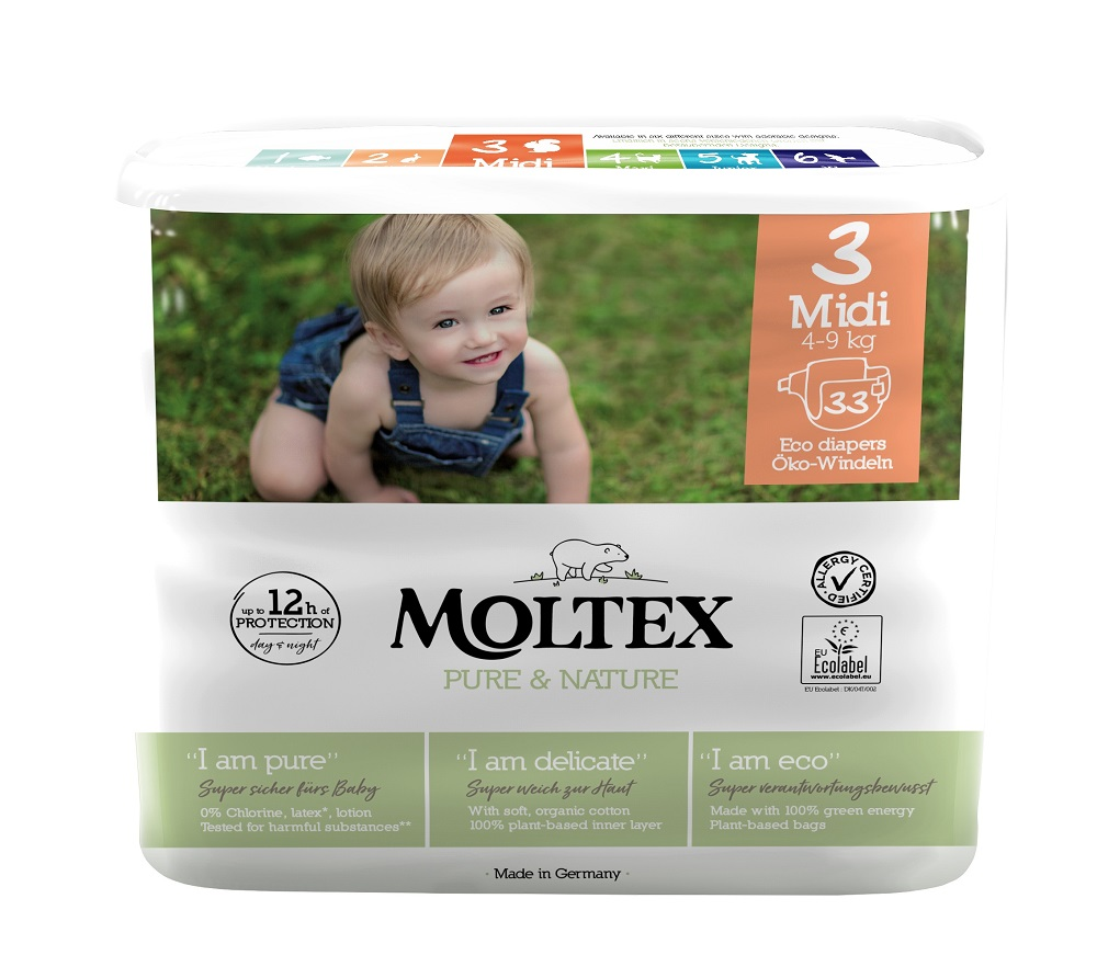 MOLTEX Plenky Pure  Nature Midi 4-9 kg (33 ks)
