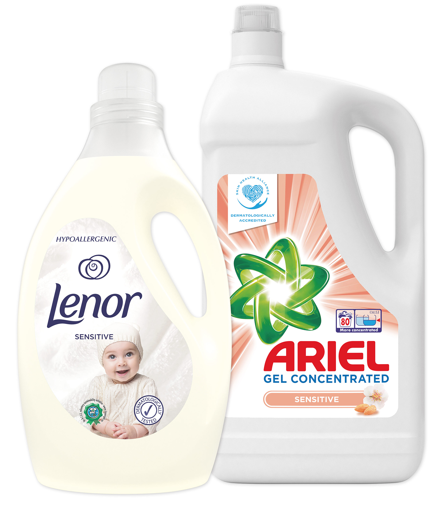 LENOR XXL Starter pack Ariel gel 80 dávek  Lenor aviváž Sensitive 2.9l