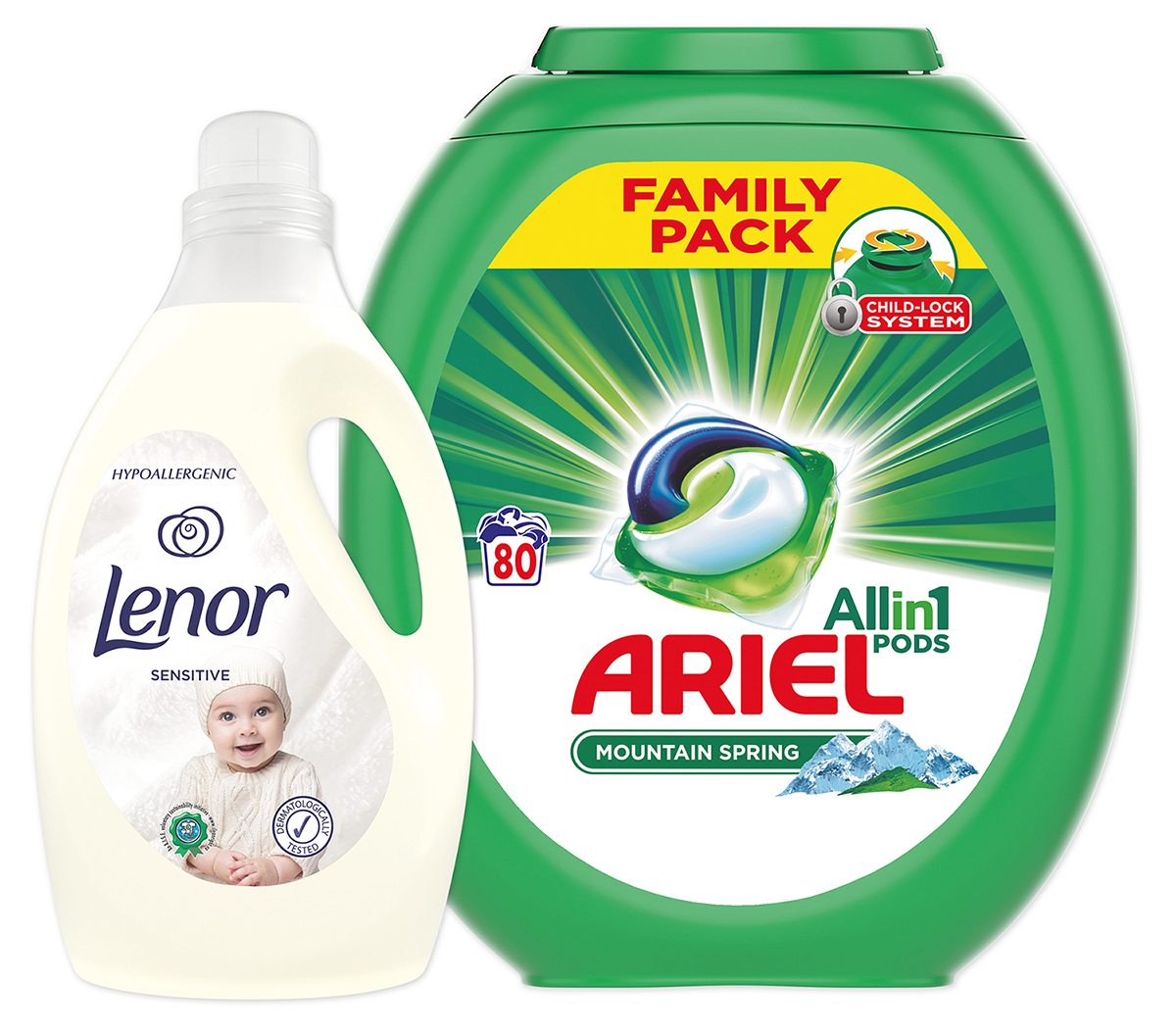 LENOR XXL Starter pack Ariel kapsle 80 ks  Lenor aviváž Sensitive 29 l
