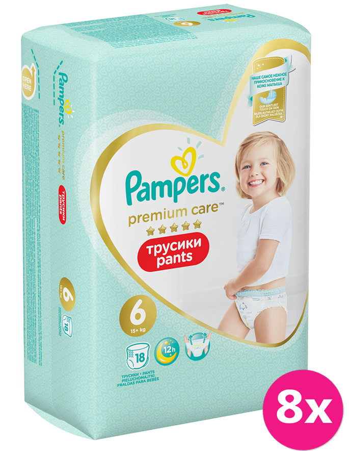8x PAMPERS Premium Care Pants 6 MAXI (15 kg) 18 ks Carry Pack – plenkové kalhotky