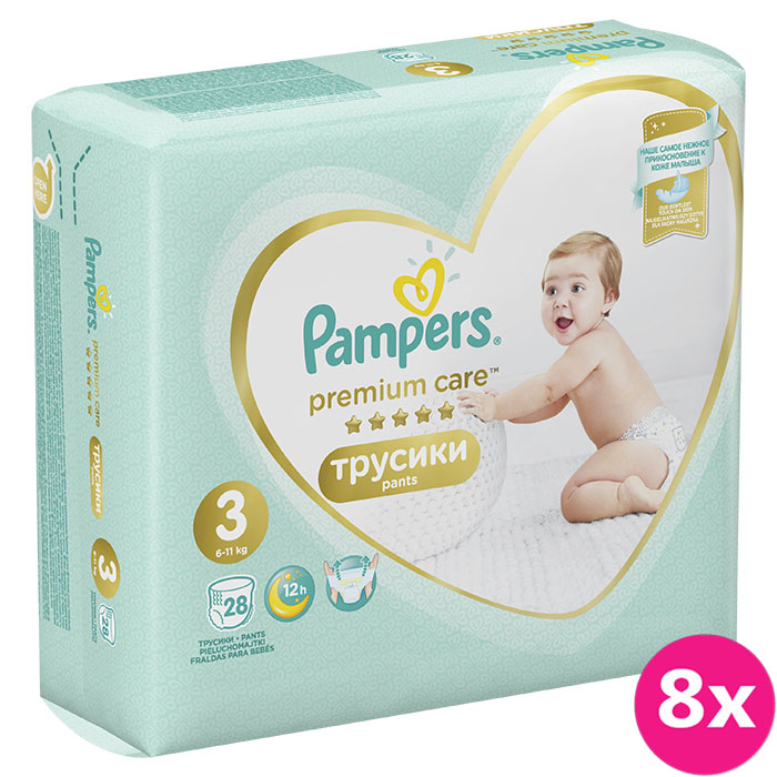 8x PAMPERS Premium Care Pants 3 MIDI (6-11 kg) 28 ks Carry Pack – plenkové kalhotky