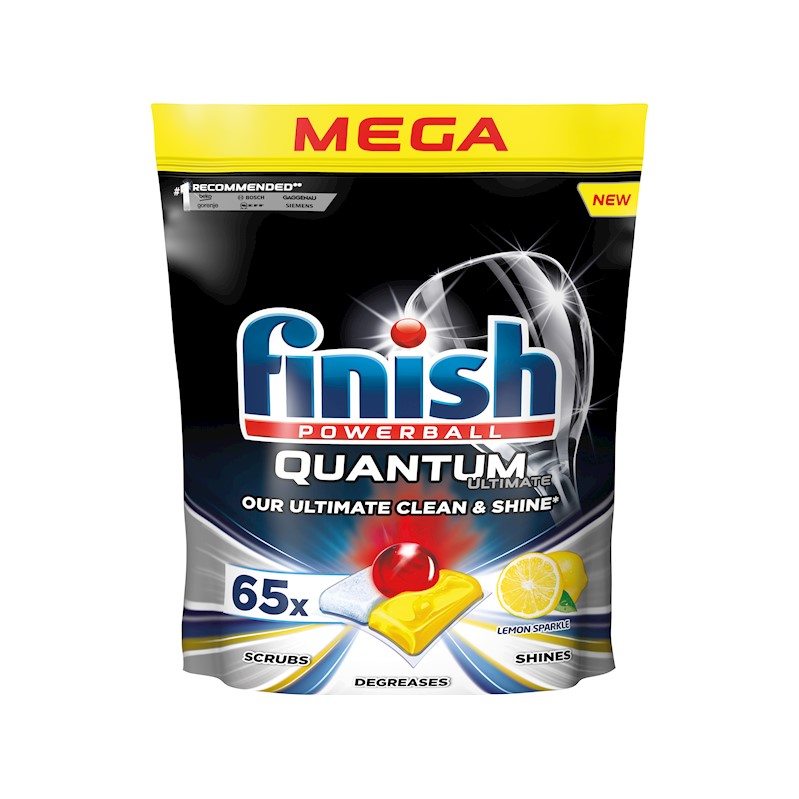 FINISH Quantum Ultimate Lemon Sparkle - kapsule do umývačky riadu 65 ks