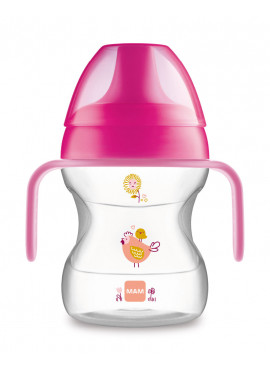 MAM Hrnček na učenie Learn to drink cup Little Farm 190 ml 6 m růžový