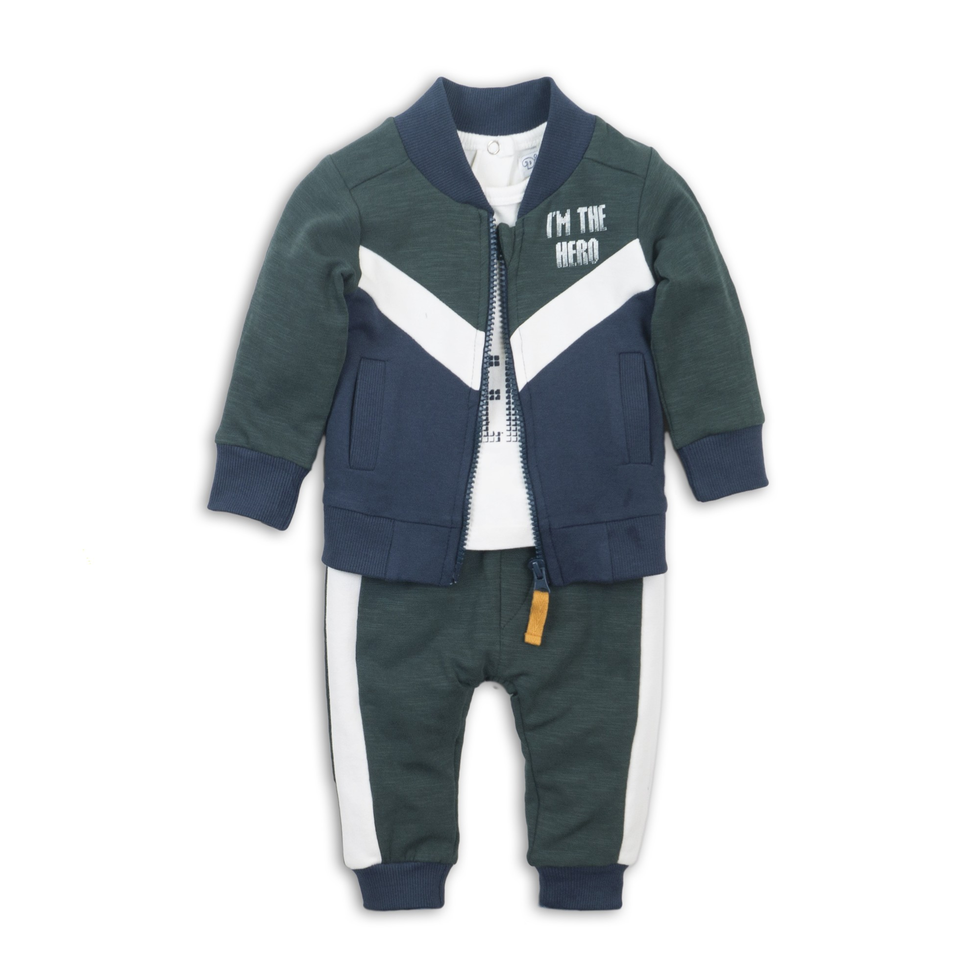 DIRKJE Set 3-dílný D-JUST BE COOL IM THE HERO 68 Green  off white  navy