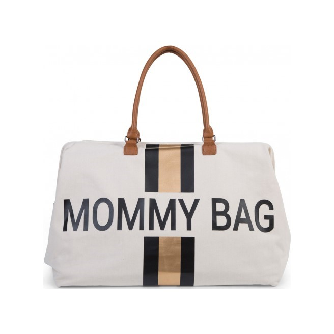 CHILDHOME Prebaľovacia taška Mommy Bag Big Off White  Black Gold