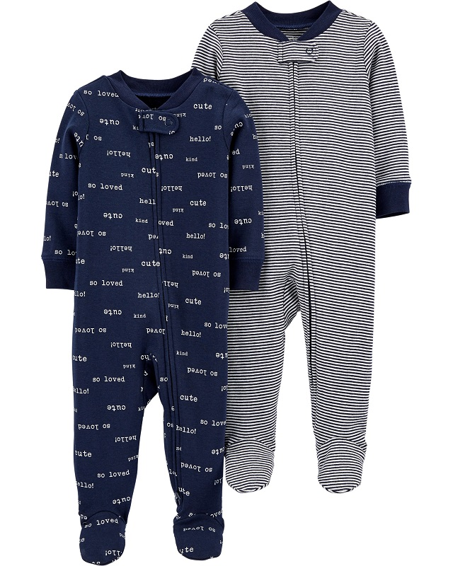 CARTERS Overal na zip SleepPlays Navy chlapec LBB 2 ks NB veľ. 56