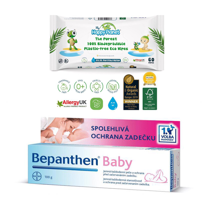 BEPANTHEN Masť Baby 100 g  obrúsky Happy Planet 100 percent BIO 60 ks